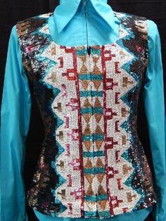 MKC Aztec Sequin Vest - Black, Turquoise, White, and Burgundy