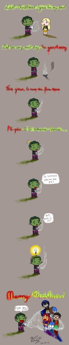 Made me want to cry... beast boy and terra should be together they ended the show crappy