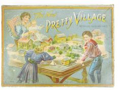 """1McLoughlin """"The Pretty Village A Toy Town"""" boxed set #545 circa 1910 contains four buildings, wagon, carriage, sidewalk, fence, six trees or shrubs, eleven people, four metal stands, flag, urn and sign, box 8.5"""" X 11.5"""""""