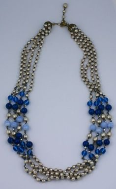 1stdibs | Miriam Haskell Pearl and Blue Glass Multistrand Necklace