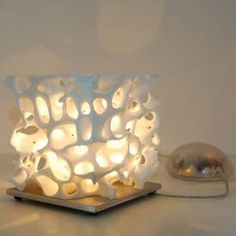 Table Lamp made with a 3D printer, or just a block of coral