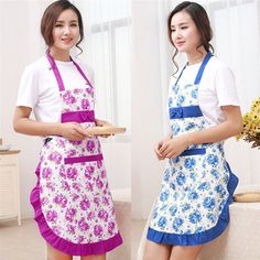 Women Floral Bowknot Cooking Kitchen Restaurant Bib Apron With Pocket Noted | Home & Garden, Kitchen, Dining & Bar, Linens & Textiles | eBay!