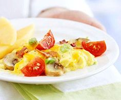 Surprise Scrambled Eggs    Bacon (just a little), mushrooms, and tomato make this delicious egg dish not only perfect for breakfast but also lunch or dinner!    Carbs: 5 g per serving