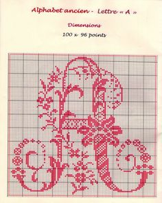 Ancient old cross stitch alphabet - free cross stitch patterns crochet knitting amigurumi Cross Stitch Letters, Cross Stitch Borders, Cross Stitch Designs, Cross Stitching, Cross Stitch Embroidery, Stitch Patterns, Baby Booties Knitting Pattern, Hand Embroidery Patterns, Quilting