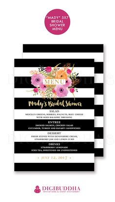 Black & White striped Bridal shower menu with pink, orange and green watercolor flowers. Pretty soft boho painterly blooms over Kate Spade inspired stripes with a hot pink twist! Classic and modern boho chic all at once. Wedding menus available at digibuddha.com