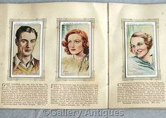 Vintage Film Stars Full complete Set of 50 Cigarette Cards in Original Album by John Player & Sons Issued in 1934 (ref: 5012)