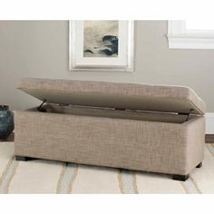 Safavieh Madison Linen Upholstered Large Storage Bench Stone Out Of Stock And 240 Anyway