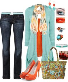 """""""Teal and Orange"""" by whitney-salyer on Polyvore"""