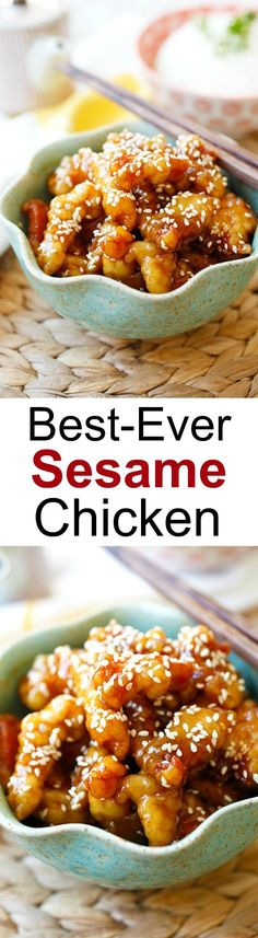chinese meals Sesame Chicken - crispy chicken with sweet, savory sauce with sesame seeds. Best and easiest recipe that is better than Chinese takeout I Love Food, Good Food, Yummy Food, Delicious Recipes, Tasty, Awesome Food, Asian Cooking, Asian Recipes, Best Chinese Recipes