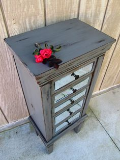 Grey Jewelry Armoire Painted and distressed, mirror front