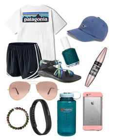 """""""Untitled #51"""" by masha-anastasia on Polyvore featuring Patagonia, NIKE, Chaco, Vineyard Vines, Maybelline, Essie, LifeProof, Ray-Ban, Nalgene and Fitbit"""