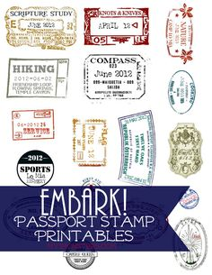 Embark! Passport Stamp Printables perfect for the 2015 LDS Youth Theme from my3monsters.com