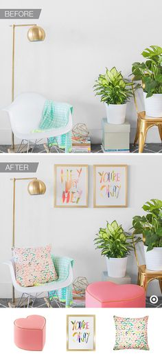 Perk up any corner by working in a few pieces from Oh Joy! for Target. Make any nook feel cozier by tossing a bright throw pillow on a chair and adding a heart-shaped ottoman. And for extra polish, hang two same-size prints side-by-side on the wall, or use coffee table books to add height to decorative objects. The look is chic and easy, perfect for adding flair to small spaces.