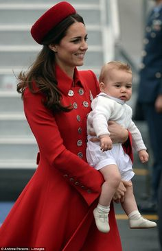 Duchess Catherine and Prince George of Cambridge arrive in Wellington, New Zealand, April 2014. #katemiddleton #princegeorge
