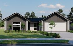 The Karapiro Plan, part of the Pavilion Range at Generation Homes. #karapiroplan #pavilionrange #3bedroomhouse #generationhomesnz Bedroom House Plans, Pavilion, Shed, New Homes, Layout, Outdoor Structures, Range, Cabin, How To Plan
