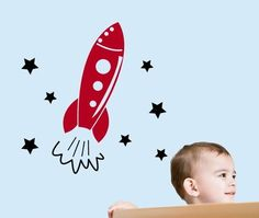 Off To The Moon!  Rocket Ship & Stars Wall Decal - http://www.theboysdepot.com/off-to-the-moon-rocket-ship-and-stars-wall-decal.html
