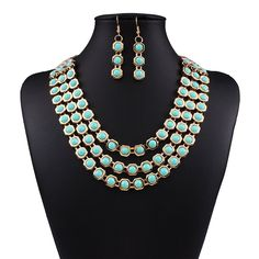 * Penny Deals * - Multi-storey Gemstone Explosion models exaggeration fashion retro false collar necklace ** Read more at the image link.