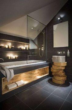 Badkamer antraciet met hout - Woontrendz