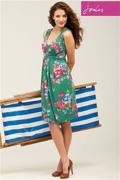 Joules Marilyn Green Floral Printed Dress