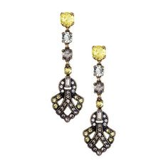 *Stone Drop Linear Earrings* Roaring 20s-inspired long linear earrings with a designed crystal-studded pendant dangling from a drop of clear, black diamond and jonquil rhinestones. Post closure with c+i bullet clutch $42