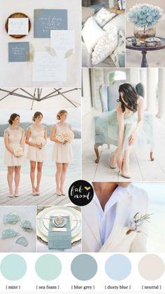 Blue grey,Dusty blue,Mint,Sea Foam and Neutral,Mints ea Foam,Blue grey,Dusty blue,Neutral,beach wedding ideas,beach wedding colors,mint beac...