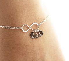 PRE-ORDER - Ships in 2-3 weeks! Personalized Infinity Bracelet, Infinity Initial Bracelet, Sterling Silver Mother's Infinity Bracelet
