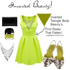 Finding styles that flatter the Inverted Triangle Body Beauty! by typology on Polyvore featuring Vera Wang #invertedtriangle angelabsimmons.com #invertedbeauty