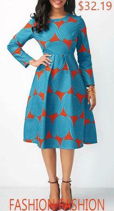 Printed Long Sleeve A Line Dress. Printed Long Sleeve A Line Dress. African Print Dresses, African Print Fashion, Africa Fashion, African Fashion Dresses, African Attire, African Wear, Fashion Outfits, African Style, African Dress Patterns
