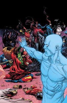 Dr Manhattan wipes out the Justice League. Dr Manhattan wipes out the Justice League. Marvel Dc Comics, Anime Comics, Comic Manga, Dc Comics Art, Comic Books Art, Book Art, Dr Manhattan, Doomsday Clock, Univers Dc