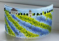 This item is unavailable Unique Gifts, Handmade Gifts, Glass Craft, Curved Glass, Fused Glass Art, Glass Garden, Glass Candle, Mother Day Gifts, Countryside