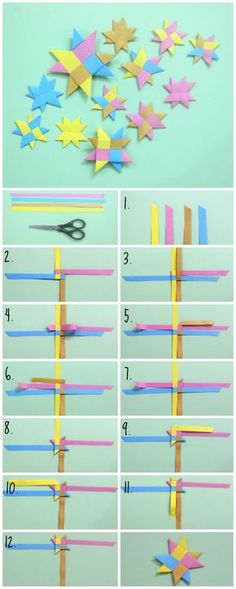 """thecraftables: """" DIY: How to make Woven Stars Here are the written steps on how to make a woven star: • Take 4 strips of paper (3 by 56 cms) and fold each in half, cut the top of each of them in a..."""