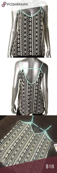 Tribal print tank top blouse black turquoise white Brand new with tags. I have one medium and one large Miss Chievous Tops Blouses