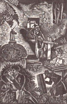 """Douglas Percy Bliss (1900-1984) """"Lacrymae Rerum"""" wood engraving. Signed and titled. 160 X 104 mm."""