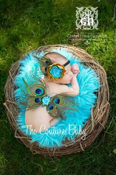 Peacock Feather Newborn Couture Wings  and Headband great Photo Prop. $42.99, via Etsy.