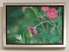 Bee and flowers. Acryl painting