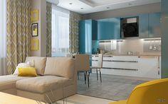 Современный интерьер новой трехкомнатной квартиры (гостиная, кухня, берюзовый, желтый, living room, kitchen, turquoise, сontemporary style)   Студия LESH