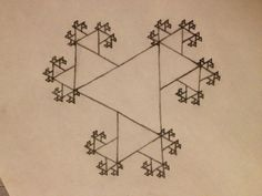 Koch 'Snowflake,' where each smaller triangle is added at an edge of every straight line rather than at the center.