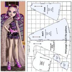 monster high sleeveless cloak Monster High Doll Clothes, Custom Monster High Dolls, Custom Dolls, Barbie Sewing Patterns, Doll Dress Patterns, Clothing Patterns, Pattern Sewing, Cloak Pattern, Pants Pattern