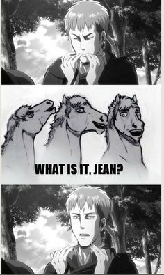 ((THE TABLES HAVE TURNED. THE HORSE IS NOW ASKING JEAN WHAT THE PROBLEM IS.))