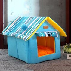 Pet Dogs Beds Fashion Striped Removable Cover Mat Dog Houses Dog Beds For Small Medium Dogs House Pet Beds for Cats Pet Products Warm Dog House, Dog House Bed, Cheap Dog Beds, Kitten Beds, Puppy Kennel, Cat Dog, Pet Mat, Medium Dogs, Pet Beds