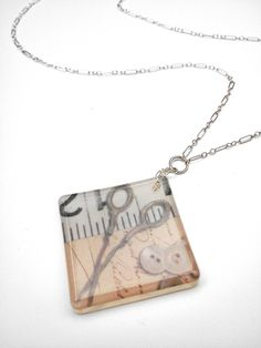 Necklace Seamstress Square Resin & Sterling Silver SOLD, via Etsy.