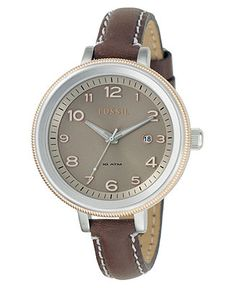 Fossil Women's Bridgette Brown Leather Strap Watch AM4304 - Women's Watches - Jewelry & Watches - Macy's