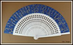 MTO Navy White and Gold Ornate Fret Wooden Folding Handheld Hand Fan by Kate Dengra Spain by DengraDesigns on Etsy
