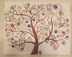 Uovo blu bottone albero originale pittura di BustedButton su Etsy