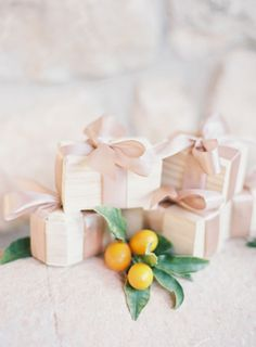 Blush ribbon on favors: http://www.stylemepretty.com/collection/2127/