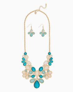 charming charlie | Floral Shimmer Bib Necklace Set $22| UPC: 400000211794 #charmingcharlie