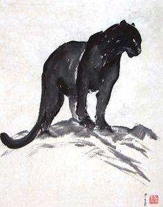 Animals - Sumi-e Black Panther Drawing, Black Panther Tattoo, Panther Tattoos, Animal Sketches, Animal Drawings, Noir Tattoo, Panther Cat, Natur Tattoos, Black Jaguar