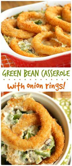 This savory Green Bean Casserole is made with a homemade creamy mushroom sauce and topped with crispy onion rings for a side dish to remember! #sidedish #greenbeans #casserole #thanksgiving