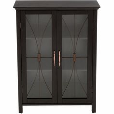 Elegant Home Fashions Victorian 26 In. D Bathroom Linen Storage Cabinet  With Glass Doors In Espresso (Brown)