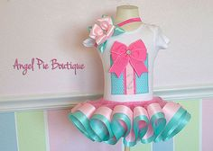 Baby Girl's Birthday Outfit - Large Present Applique w/ Rhinestone Number, Ribbon Trim Tutu and Hair Bow on Band - Aqua, Taffy & Light Pink on Etsy, $65.00